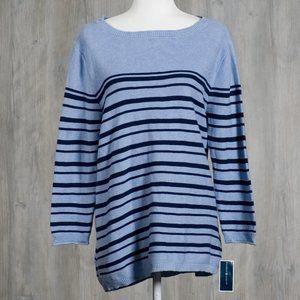 Karen Scott NWT Blue Striped Sweater XL